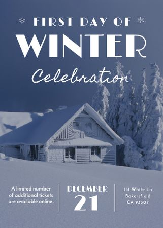 Plantilla de diseño de First day of winter celebration in Snowy Forest Invitation