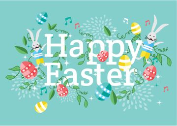 Happy Easter Greeting with Bunnies and Eggs
