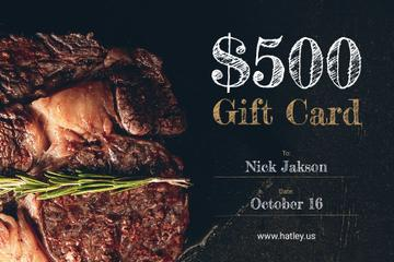 Restaurant Offer Delicious Grilled Steak | Gift Certificate Template