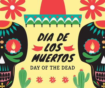 Dia de Los Muertos greeting skulls
