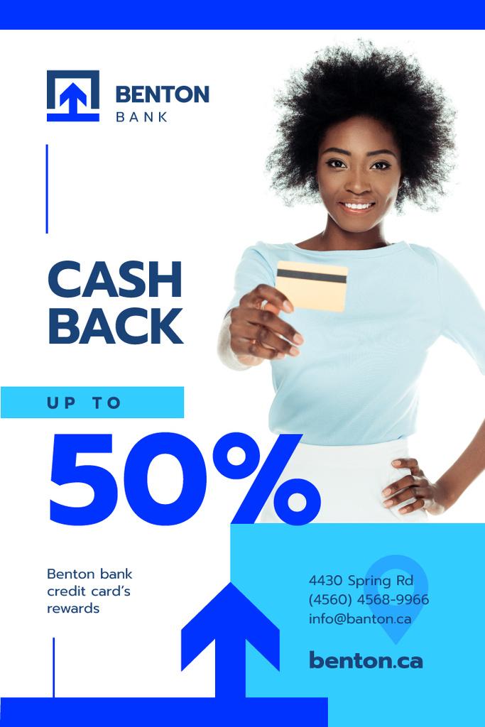Cashback Service Ad with Woman with Credit Card — ein Design erstellen