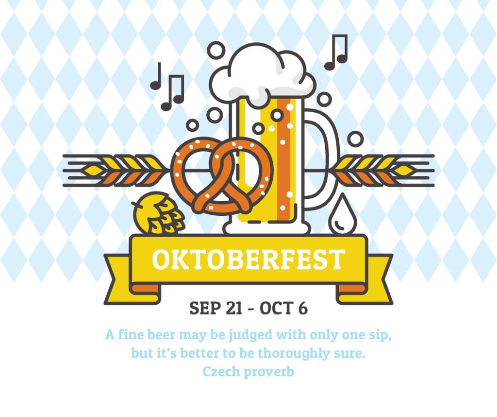 Traditional Oktoberfest treat and beer Facebook Modelo de Design