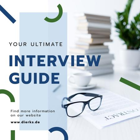 Designvorlage Job Interview Tips Business Papers on Table für Instagram