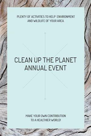 Ecological event announcement on wooden background Tumblr Modelo de Design