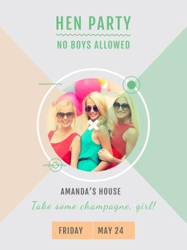 Hen Party invitation with Smiling Girls