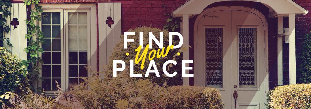 Find your place text with cozy house on background — ein Design erstellen