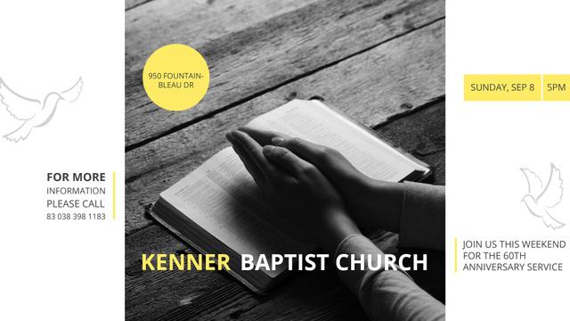 Template di design Prayer Invitation Hands on Bible Book FB event cover