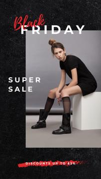 Black Friday Ad Young woman wearing black clothes