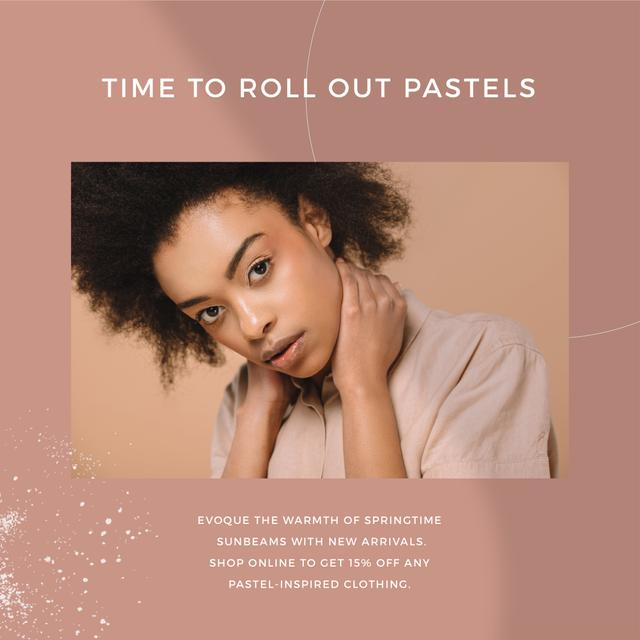 Template di design Pastel Clothing Offer with Tender Woman Instagram