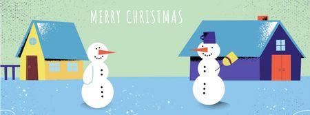 Plantilla de diseño de Two funny snowmen on Christmas Facebook Video cover