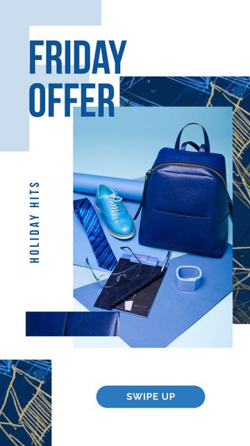 Sale Ad Blue male accessories Instagram Story Modelo de Design