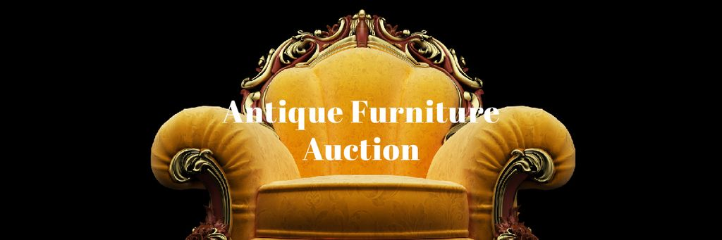 Antique Furniture Auction with Luxury Yellow Armchair Email header – шаблон для дизайна