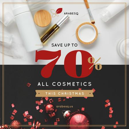 Ontwerpsjabloon van Instagram van Christmas Cosmetics Sale with Red Decorations