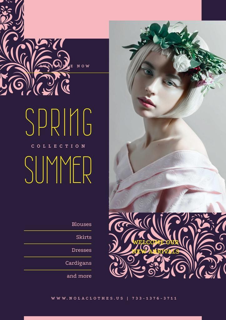 Young girl in flowers wreath — Создать дизайн