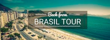 Brasil tour advertisement with view of City and Ocean