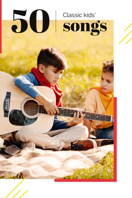Girl listening to boy playing guitar Pinterest Design Template