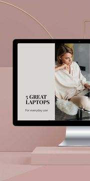 Gadgets review with Woman working on Laptop