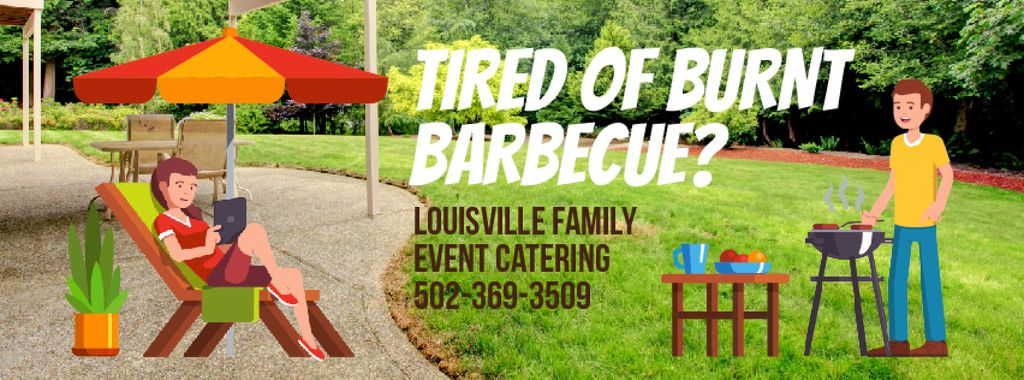 Barbecue Invitation with Man by Grill | Facebook Video Cover Template — Create a Design