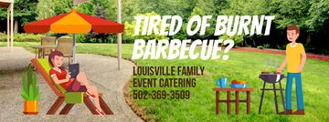 Barbecue Invitation with Man by Grill | Facebook Video Cover Template
