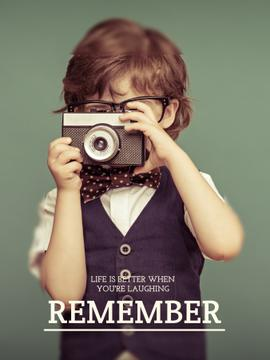 Motivational quote with Child taking Photo
