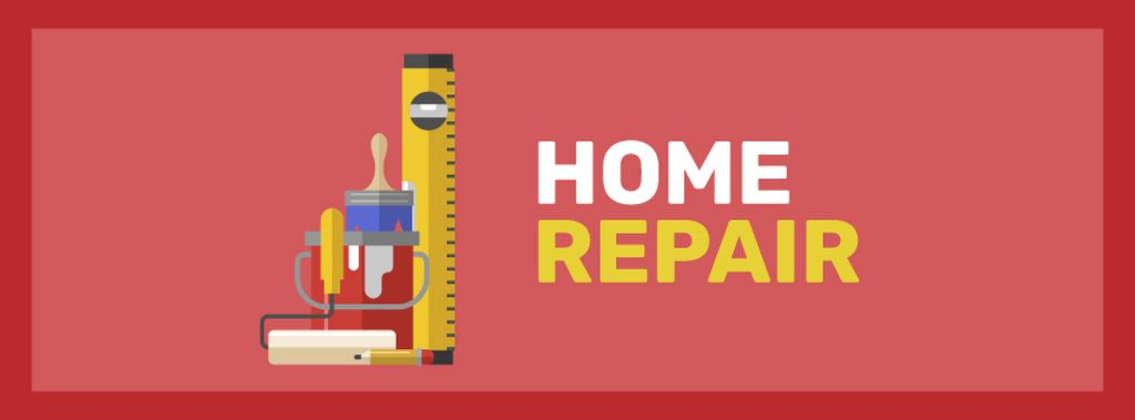Tools for home renovation service Facebook cover Design Template