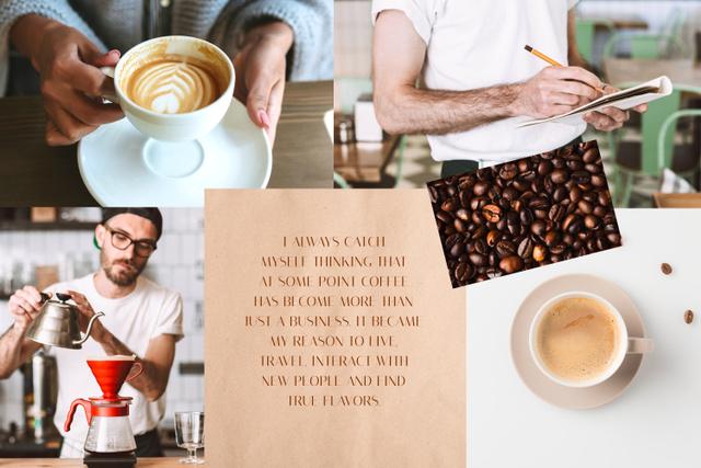 Plantilla de diseño de Barista Brewing Coffee Mood Board
