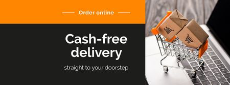 Cash-free delivery Service with cart Facebook cover Tasarım Şablonu