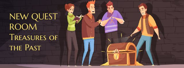 Plantilla de diseño de Team of friends opening treasure chest Facebook Video cover