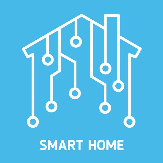 Designvorlage Digital icon on house network für Animated Post