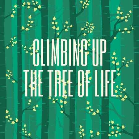 Plantilla de diseño de Motivational Quote with Trees in Green Forest Animated Post