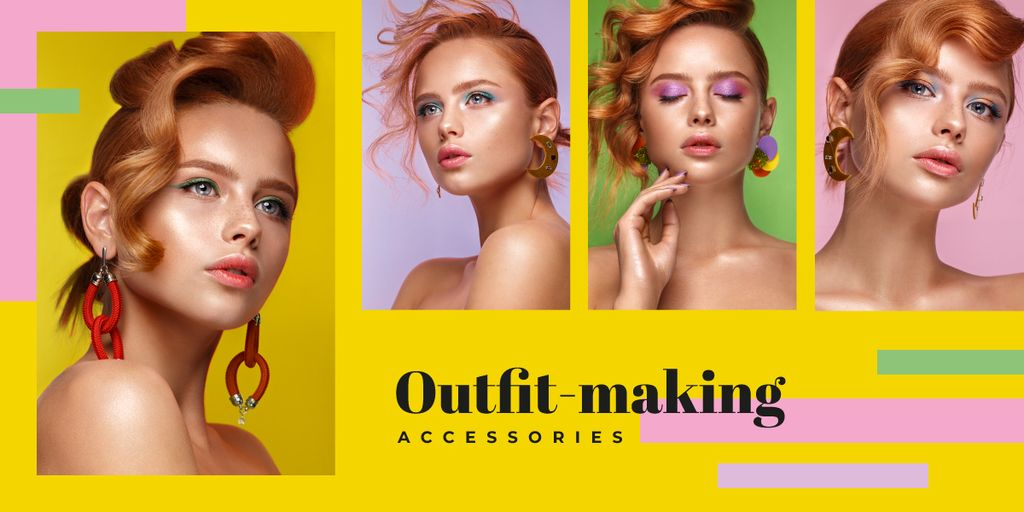 Young woman with fashionable makeup Image Design Template