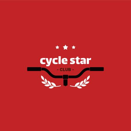 Cycling Club with Bicycle Wheel in Red Logo Modelo de Design