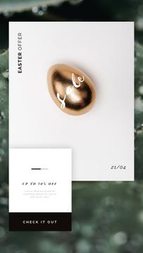 Easter Offer Golden Egg on White | Vertical Video Template