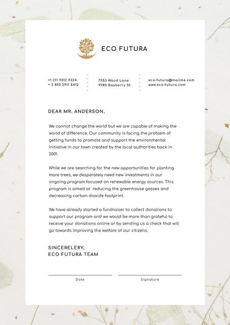 Eco Company fundraising offer Letterhead Design Template
