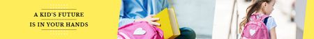 Kids Future Quote Smiling Schoolgirl with Backpack Leaderboardデザインテンプレート
