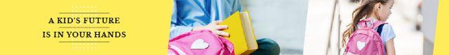 Plantilla de diseño de Kids Future Quote Smiling Schoolgirl with Backpack Leaderboard
