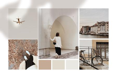 Travel Mood with old town views Mood Boardデザインテンプレート