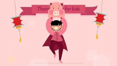 Plantilla de diseño de Theme Party for Kids Organization Girl in Pig Costume Full HD video