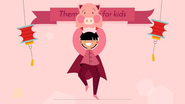 Plantilla de diseño de Theme Party for Kids Organization Girl in Pig Costume Full HD video