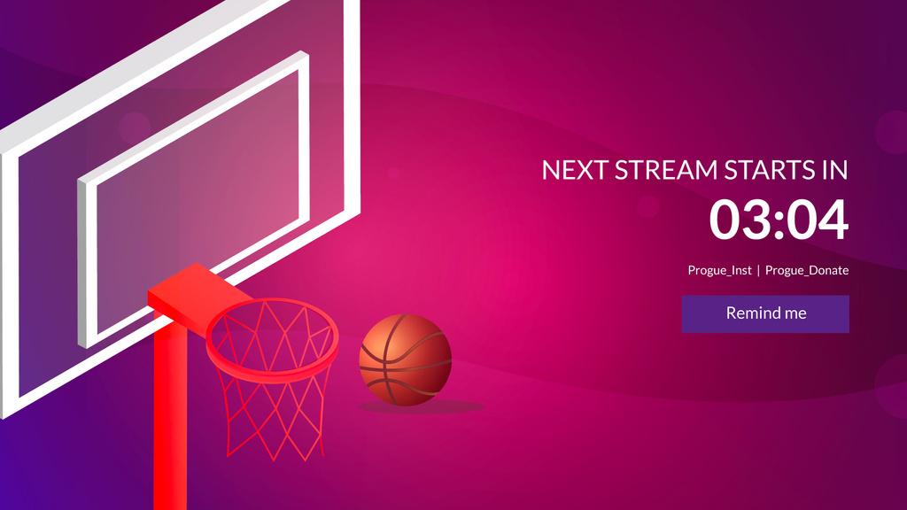 Plantilla de diseño de Basketball Basket with Ball on Pink Twitch Offline Banner