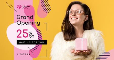 Plantilla de diseño de Store Opening Announcement Woman with Gift Box Facebook AD