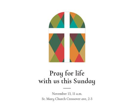 Plantilla de diseño de Pray for life with us this Sunday Medium Rectangle
