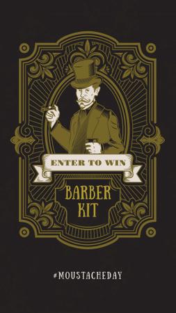 Barbershop Ad Vintage Bearded Barber Instagram Storyデザインテンプレート