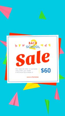 Back to School Sale Colorful Paper Planes on Blue Instagram Video Storyデザインテンプレート