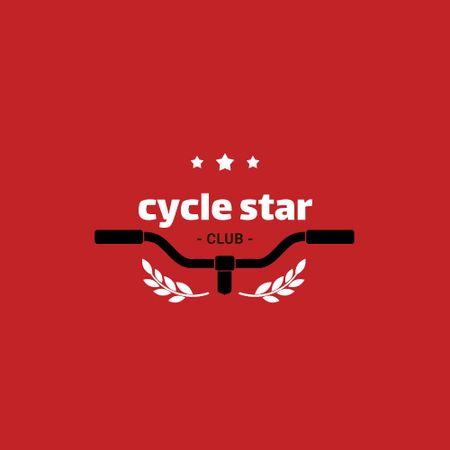 Cycling Club with Bicycle Wheel in Red Animated Logo Tasarım Şablonu