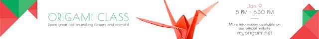 Origami Classes Invitation Paper Crane in Red Leaderboard – шаблон для дизайна