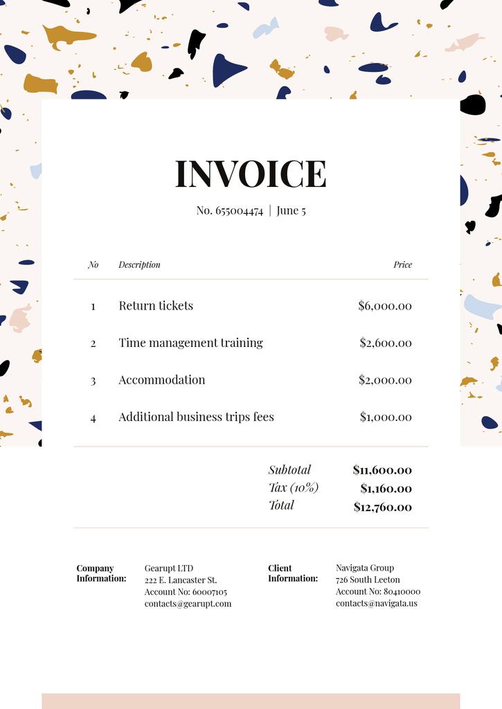 Business Trip Bill on Colourful Pattern — Crea un design