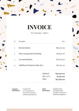 Business Trip Invoice on Colourful Pattern