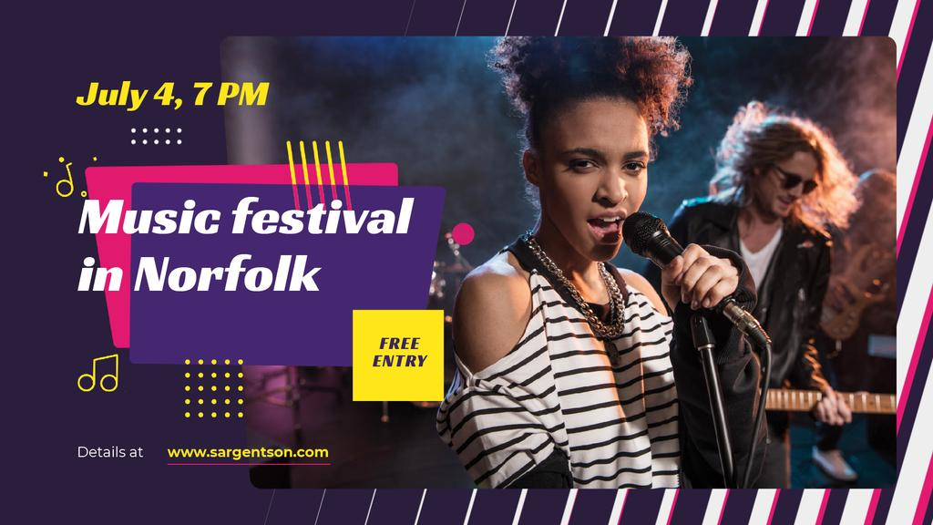 Music Festival Announcement Band on Stage — Modelo de projeto
