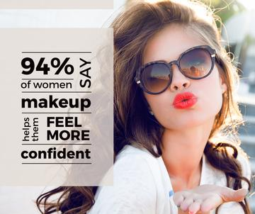 Makeup Sale Attractive Woman Blowing Kiss | Facebook Post Template